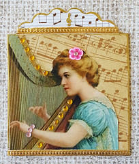 """G & H"" Alphabet Twinchie (Kathy Skaggs) Tags: harp vintageillustration swapbot musicillustration girlwithaharp twinchie collagetwinchie alphabettwinchie"
