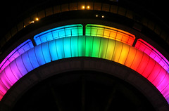 Caterpillar (leays) Tags: urban toronto color lights rainbow colours cntower pride prideparade colourful torontopride
