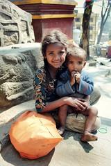 Sister & Brother ( Jamie Mitchell) Tags: swayambhunath swayambhu nepal nepalese nepali kathmandu portrait portraiture children kids girl boy poor poverty travel asia