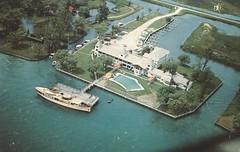 Idle Hour Motel - St. Clair Flats, Michigan (The Cardboard America Archives) Tags: aerialview water motel vintage michigan postcard