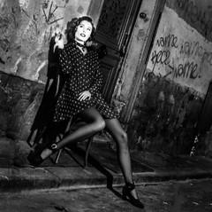 LA ROBE A POIS (zventure, off until late September) Tags: noiretblanc nb tiragenb bw blackandwhite monochrome modle mannequin portrait paris chaise ruelle rue porte trottoir pavs graffiti murs hasselblad 500cm carre