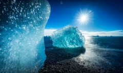Fire and Ice (Augmented Reality Images (Getty Contributor)) Tags: beach bluesky bracketexposure canon hdr ice icebergs iceland landscape leefilters longexposure seascape sun water jokulsarlon