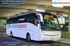 NATIONAL EXPRESS PREMIERE TRAVEL VOLVO CAETANO LEVANTE FJ61 EWX 17 OCTOBER 2013 (MATT WILLIS VIDEO PRODUCTIONS) Tags: nottingham travel bus station volvo national express premiere caetano levante broadmarsh fj61 ewx