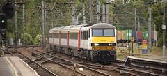 90013 Ipswich 31/05/2014 (Flash_3939) Tags: uk white station electric train ga may rail railway locomotive 31 ipswich dvt 2014 mk3 class90 90013 abellio drivingvantrailer 82152 locohauled mk3dvt greateranglia 31052014