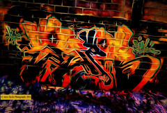 Night Di-Vision (Steve Taylor (Photography)) Tags: newzealand christchurch orange streetart abstract black green art wall contrast digital graffiti mural purple tag canterbury pinky ave nz mauve southisland colourful avenue fitzgerald dutchangle dutchtilt hyro solih