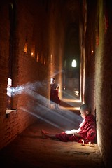 Leisure Time (Eddie HBH) Tags: dusty relax reading pagoda monk myanmar bagan