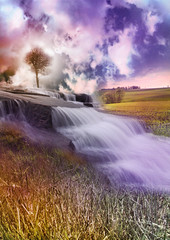 Waterfall (Frk Martine) Tags: sky cloud tree water norway clouds photoshop norge waterfall photoshopped himmel tre skyer fossefall