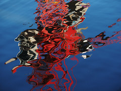 son of squiggle (donvucl) Tags: blue red colour water crane squiggles semiabstract donvucl olympusem1 reflectionofacrane
