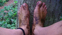 Feet of a barefoot hiker (bfe2012) Tags: boy feet nature wet leaves forest woodland foot freedom toes hiking indian dirty dirt swamp barefoot strong barefeet hiker tough muddy marshland ankles anklets barefooted barfuss muddyfeet barefooting dirtyfeet barefoothiking barefooter baresoles