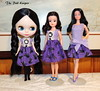 Three versions of The Cat Dress (The doll keeper) Tags: black cat kitten doll dress purple barbie bow blythe braids sindy snowprincess