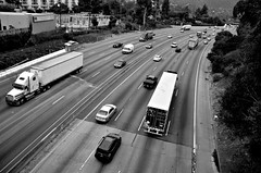 Light on the Five (Pedestrian Photographer) Tags: california park bridge light bw white lake black cali truck silver la los highway december village traffic glendale i5 angeles 5 five curvy dec semi southern socal american atwater lane freeway trucks interstate curve griffith curved heavy overhead trailers blvd truckin semis lanes hyperion ribbet 2014