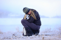 Thanks. (nevadoyerupaja) Tags: life winter friends usa dog pet mountains cold love girl female landscape model nikon hug frost joy compassion giving wyoming tetons companion partners nikon70200mmf28 meganpeterson
