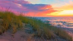 Winter Sunset (Explore 12-24-2014) (Mi Bob) Tags: unitedstates michigan gasoline hoffmaster nortonshores