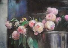 Peonies (alin_presto) Tags: life pink flowers beauty metal bucket still shine pastel peony bouquet gouache tenderness