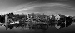 Elora mill pond panorama (Mark Heine Photos) Tags: ca blackandwhite bw panorama ontario canada stone clouds buildings river pano panoramic historic grandriver elora cirrus millpond eloramillinn markheine