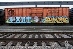 Fart & Hindue (EricBMW) Tags: train graffiti trains fart unionpacific boxcar freight boxcars freights hindue