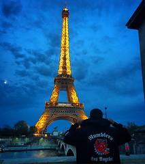 Rumbler in Paris (El Cheech) Tags: bridge sky moon paris france clouds losangeles hoodie europe eiffeltower champdemars eurotrip carclub gustaveeiffel dirtydevil rumblerscc rumblerscarclub hotrodhooligans rumblerslosangeles rumblersla rumblernation