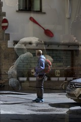 a window to your mind (thesilvercitizen) Tags: bear street reflection wall reflections toy outdoors spoon indoors stop backpack