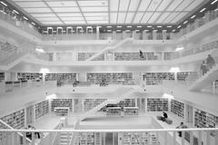 Bibliothek Stuttgart (DoubleE87) Tags: stairs blackwhite noiretblanc stuttgart bibliothek books fujifilm stufen noirblanc bcher treppen ooc upanddown schwarzweis fujixt1 samyangwalimex12mm