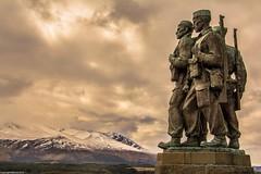 Heroes. (AlbOst) Tags: snow mountains soldiers monuments commandomemorial worldwar2 memorials commandos lochaber speanbridge scottishhighlands scottishmountains