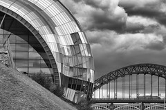 Sage and Tyne Bridge (cotswoldman) Tags: bridge blackandwhite blancoynegro monochrome architecture skyscape newcastle mono design cityscape graphic sage gateshead townscape modernarchitecture blancetnoir gloucestercameraclub