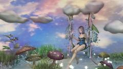 Magic Garden (Anita Armendaiz) Tags: life cloud mushroom butterfly garden spring doll swing coco fantasy second yumyum collective astralia {junbug} mushilu