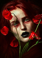 the damned. (Cristina Otero Photography) Tags: red portrait selfportrait green art face eyes cristina poppy freckles damned otero
