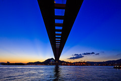 Magic Sky Bridge (briantang0703) Tags: bridge blue sunset sea sky cloud color building art architecture river hongkong exposure magic