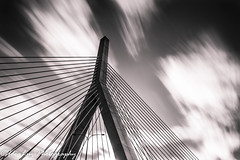 Bunker Hill Bridge (IdeaLuz Photography) Tags: city bridge bw usa white abstract black lines boston architecture clouds long exposure cityscape angle outdoor sony wide blurred structure concret a7ii