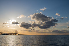 Sunset by the Bridge (Infomastern) Tags: bridge sunset sea sky cloud himmel bro hav solnedgng moln resundsbron brofstet
