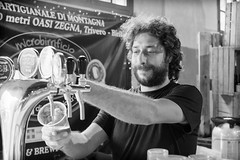 Another pint, please (Luca Quadrio) Tags: light portrait blackandwhite italy man beer monochrome work photo naturallight portraiture fujifilm pint brewer vigevano x100s