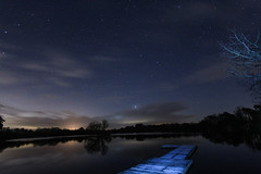 Jetty On The Lake (babell4321) Tags: longexposure trees lake water night stars pontoon petersfield