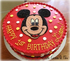 Mickey Mouse-themed birthday cake (pike.corinne) Tags: birthday cake mouse chiffon mickey mocha buttercream picmonkey