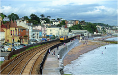 Passing by the Sea Wall (Welsh Gold) Tags: sea wall tour devon basingstoke paignton wildebeeste dawlish 73107 73128 73962 73963 1z73
