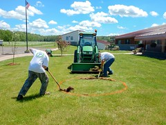 Iron River NFH (WI) YCCs adding a bird feeding station to the front lawn (USFWS Fish and Aquatic Conservation) Tags: summer wisconsin youth education employment conservation hires corps ironriver yccs nationalfishhatchery