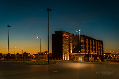 Hampton Hotel at night (tbnate) Tags: nikon nikond750 d750 tbnate poland polska gdansk hotel building architecture sunrise bynight night clouds sky landscape lights outdoor outside lechwalesaairport cityscape