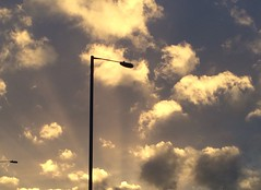 Lamppost of light (authorannabel) Tags: settingsun lamppost outdoors clouds sunset light