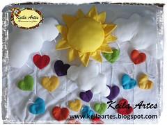 MBILES SOL E NUVEM (KEILARTES) Tags: sunshine nuvem de amor decorao almofada sol mbile boneca feltro keilaartes lembrancinhaaniversrio personalizados