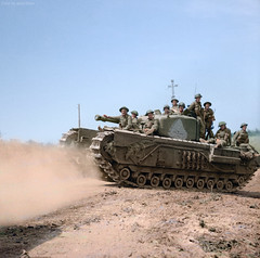 A Churchill tank carrying infantry advances towards St Pierre Tarentaine, Normandy, 3 August1944. (Jared Enos) Tags: churchill tank tanks uk europe france normandy world war ii wwii overlord operation machine outdoor history colorized colorization