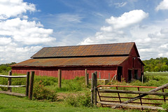Red Barn in Clinton, SC (FagerstromFotos) Tags: barn buidling farm tinroof red wood fence rural country clouds