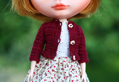 New cardigans on Etsy (zsofianyu) Tags: takara tomy japanese toy neo blythe doll nicky lad custom ooak freckles puppelina realistic glass eye chips eyechips unique art artistry crochet crocheting crocheted cardigan coral peach burgundy scarlet color colour etsy shop seller store handmade closeup portrait