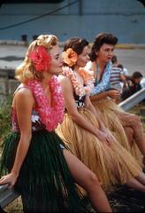 Hula girls, Ford Island  1950s (ElectroSpark) Tags: vintage photos slides hawaii military aircraftcarrier wwii koreanwar tiki hula girls