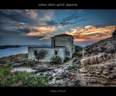 When their spirit departs... (Nikos O'Nick) Tags: nikos kotanidis oick nikon d810 fx nikkor 1424mm tripod manfrotto 055xprob 498rc2 ballhead hdr photomatix landscape lemnos limnow island hellas greece aegean see ruined abandonded decay spirit departs homeless sunset golden hour sun sky sea clouds rocks frame         aveirio hotel       wow