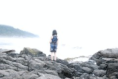 Never turn your back to the ocean (heatherjoan) Tags: ocean sea portrait woman mist selfportrait mountains west water girl beautiful fog oregon self hair landscape asian coast back pretty dress pacific legs northwest heather bare united autoretrato short states intertidal sublime tidal zone yachats cascadia seawater mitmunk