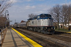 Blowing in ahead of the clouds (PrairieRailfan) Tags: amtrak depot local bnsf chicagosub sd70ace nikond2xs dash832bwh amtk506 illinoiszephyr roadfreight downersgroveilmainst copyright2014michaelmatalis