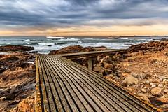 Path to the water (Tr3ndline) Tags: ocean wood sunset luz praia beach portugal water soleil dock waves path porto da vagues quai oporto chemin