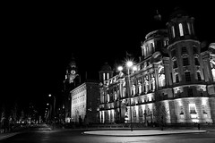 """The Three Graces"" at Liverpools Pier Head. (Spokenwheelphotography) Tags: uk nightphotography blackandwhite building architecture liverpool canon photography lights 7d cunard liverbirds merseyside floodlights royalliverbuilding portofliverpoolbuilding cunardbuilding"