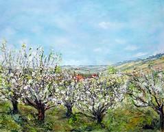 Les cerisiers [38x46] (http://www.monik-saunier.com) Tags: iris les village jardin peinture paysages monik chemin joucas valle cerisiers bonnieux coquelicots saunier meules lubron lindry
