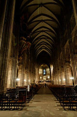 Strasbourg Notre Dame Cathedral (adrian_kool) Tags: unesco gothic france strasbourg church cathedral notredame architecture night interior nikon tokina 1116mm d300 lighting stainedglass