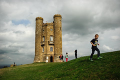 Broadway Tower, England, 2014 (marc_guitard) Tags: travel england playing tower castle grass way children countryside village hiking hill broadway cotswolds hike trail national traveling quaint active escarpment cotswold